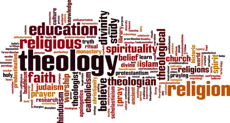 theologian: Theology word cloud concept.