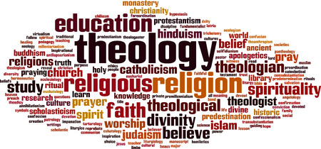 theology: Theology word cloud concept. Vector illustration