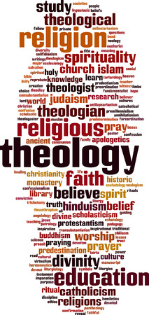 Theology word cloud concept.