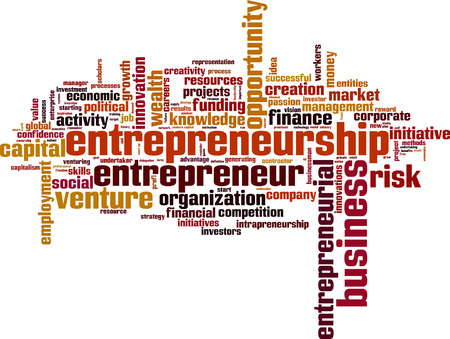 starting a business: Entrepreneurship word cloud concept. Vector illustration
