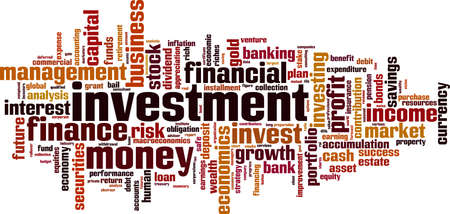 accumulation: Investment word cloud concept. Vector illustration