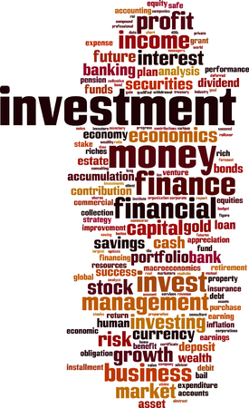 equities: Investment word cloud concept. Vector illustration