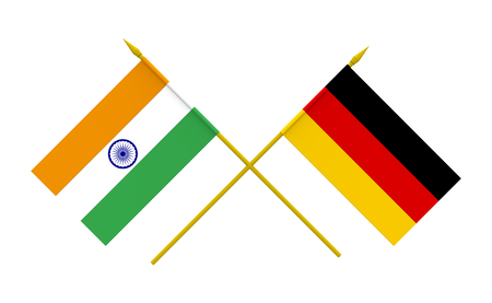 india 3d: Flags of Germany and India, 3d render, isolated Stock Photo
