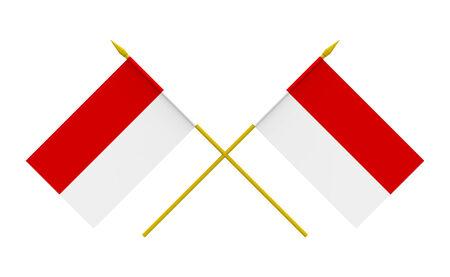 インドネシア、3 d レンダリング、分離にホワイトの 2 つの交差フラグ 写真素材