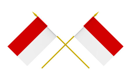 Two crossed flags of Indonesia, 3d render, isolated on white