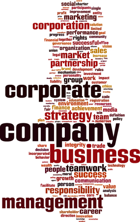 entity: Company word cloud concept. Vector illustration Illustration