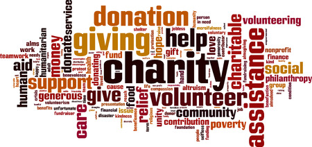 philanthropy: Charity word cloud concept. Vector illustration