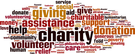 unfortunate: Charity word cloud concept. Vector illustration