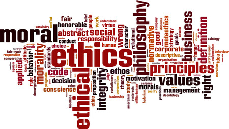 ethics and morals: Ethics word cloud concept. Vector illustration
