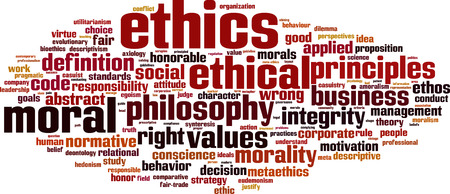 Ethics word cloud concept. Vector illustration