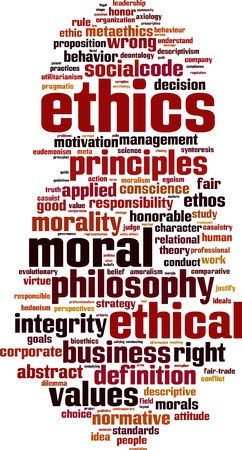 conflict theory: Ethics word cloud concept. Vector illustration