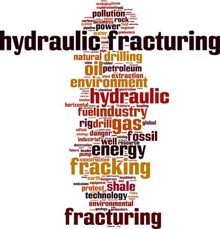 idraulico: Fratturazione idraulica nube concetto di parola. Illustrazione vettoriale