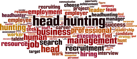 executive search: Head hunting word cloud concept. Vector illustration Illustration