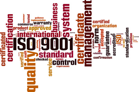 ISO 9001 word cloud concept. Vector illustration