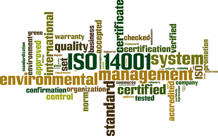 requirement: ISO 14001 word cloud concept. Vector illustration