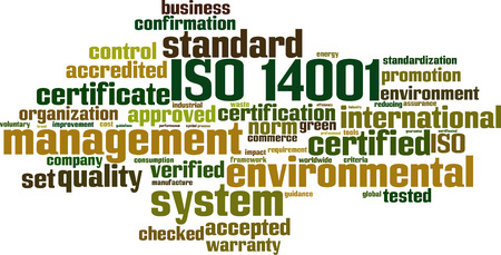 impact tool: ISO 14001 word cloud concept. Vector illustration