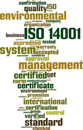 gönüllü: ISO 14001 kelime bulut kavramı. Vector illustration Çizim