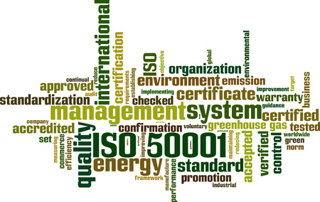 gönüllü: ISO 50001 kelime bulut kavramı. Vector illustration