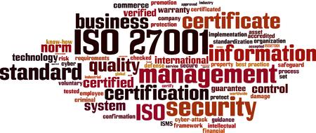 ISO 27001 word cloud concept. Vector illustration Illustration