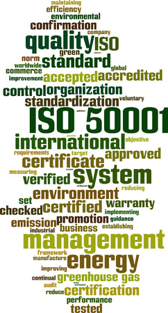 greenhouse gas: ISO 50001 word cloud concept. Vector illustration