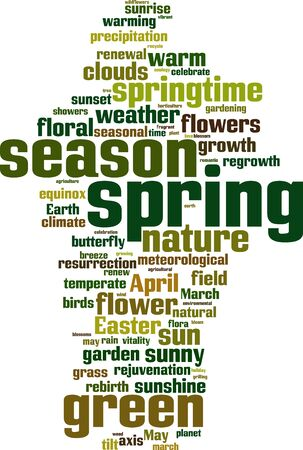 equinox: Spring word cloud concept. Vector illustration