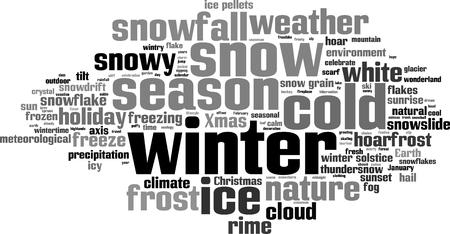 meteorological: Winter word cloud concept. Vector illustration