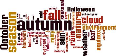 equinox: Autumn word cloud concept. Vector illustration Illustration