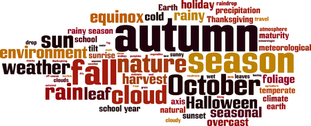 temperate: Autumn word cloud concept. Vector illustration Illustration