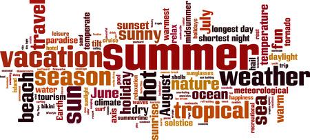 longest: Summer word cloud concept. Vector illustration