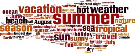 midsummer: Summer word cloud concept. Vector illustration