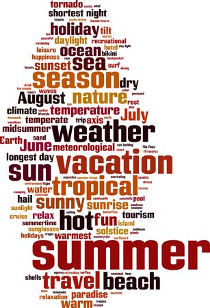 summer solstice: Summer word cloud concept. Vector illustration