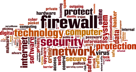 operating system: Firewall word cloud concept. Vector illustration Illustration