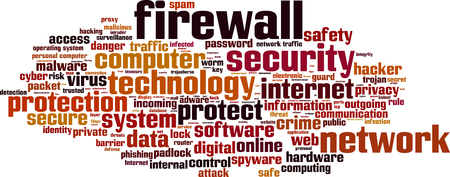 outgoing: Firewall word cloud concept. Vector illustration Illustration