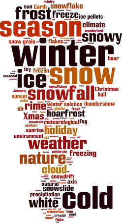 solstice: Winter word cloud concept. Vector illustration
