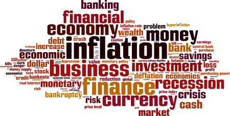 purchasing power: Inflation word cloud concept. Vector illustration