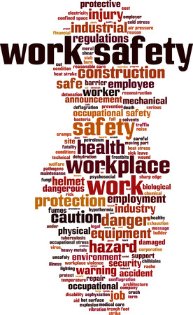 Work safety word cloud concept. Vector illustration Stock Illustratie