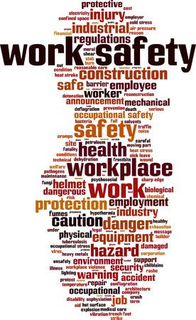 Werken veiligheid woord wolk concept. Vector illustratie Stock Illustratie