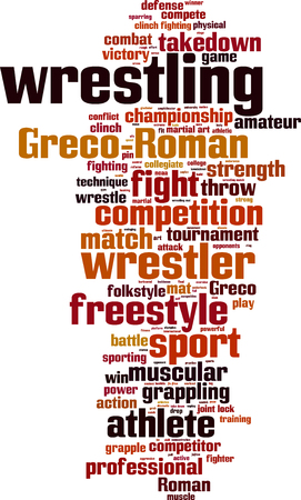 greco roman: Wrestling word cloud concept. Vector illustration Illustration