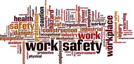 Bezpečnost práce slovo mrak pojetí. Vektorové ilustrace