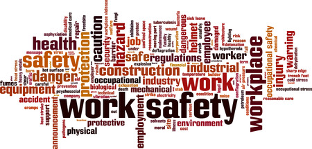 Bezpieczeństwo pracy Word chmura koncepcji. Ilustracji wektorowych