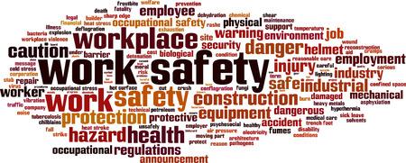 Work safety word cloud concept. Vector illustration Illustration