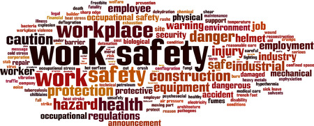 workplace safety: Work safety word cloud concept. Vector illustration Illustration