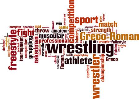 Wrestling word cloud concept. Vector illustration Illustration