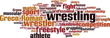 grappling: Wrestling word cloud concept. Vector illustration Illustration
