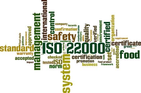 ISO 22000 woord wolk concept. Vector illustratie Stock Illustratie