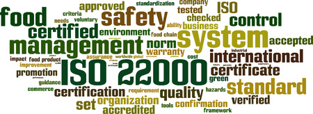 impact tool: ISO 22000 word cloud concept. Vector illustration