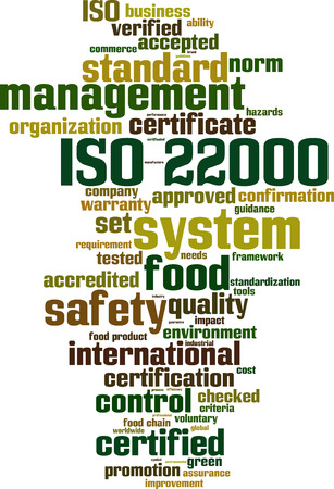 iso: ISO 22000 word cloud concept. Vector illustration