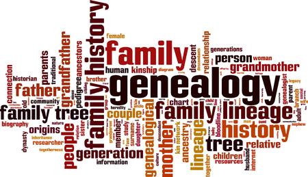 Genealogy word cloud concept. Vector illustration Illustration