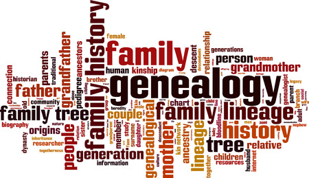Genealogy word cloud concept. Vector illustration Vettoriali