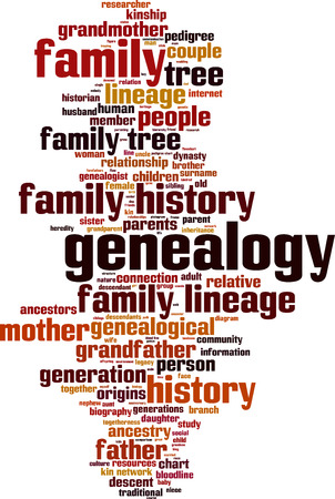 Genealogy word cloud concept. Vector illustration Stock Illustratie